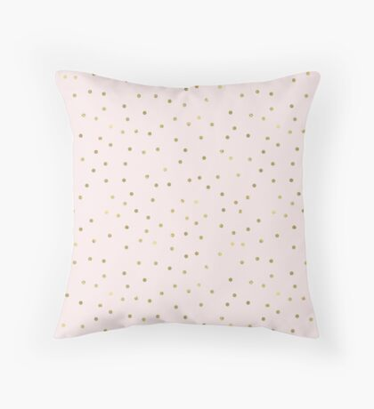 Pink Blush Gold Confetti Throw Pillow