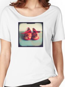 Tiny toes - red chinese baby shoes Women's Relaxed Fit T-Shirt
