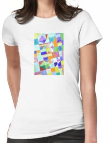 Playful Colorful Architectural Pattern  Womens Fitted T-Shirt