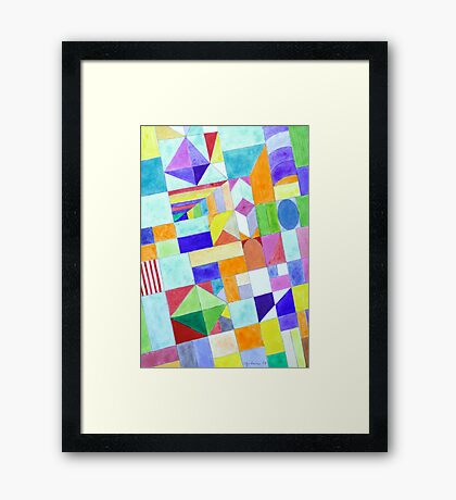 Playful Colorful Architectural Pattern  Framed Print
