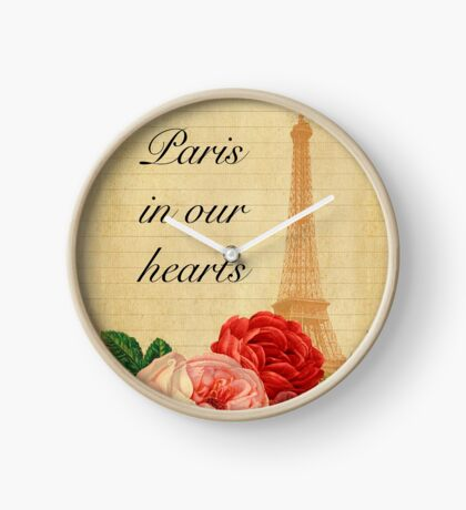 Paris in our hearts,vintage,rustic,grunge,collage,roses,pink,red Clock