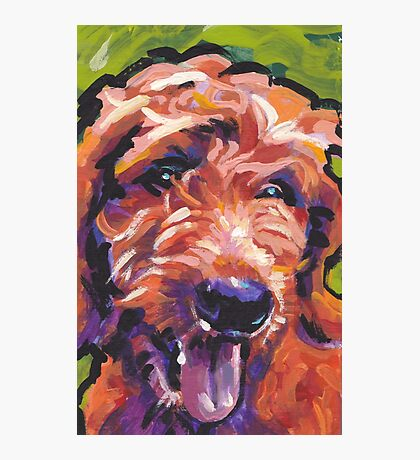 Red Golden Doodle Dog Bright colorful pop dog art Photographic Print
