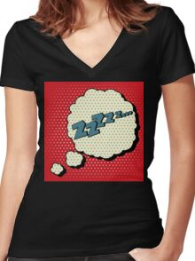Comic Bubble in Pop Art Style with Expression Zzz Women's Fitted V-Neck T-Shirt