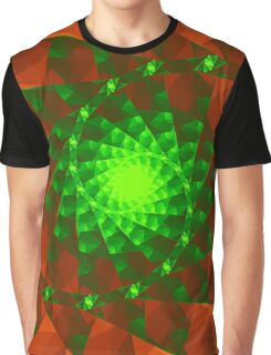 Spiral Emerald and Red Orange Fractals Graphic T-Shirt