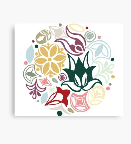 Colourful little bouquet of imaginary flowers Canvas Print