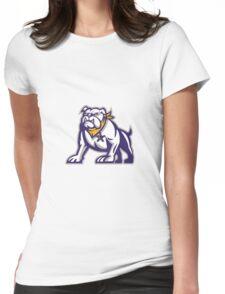 Bulldog Sheriff Crouching Retro Womens Fitted T-Shirt