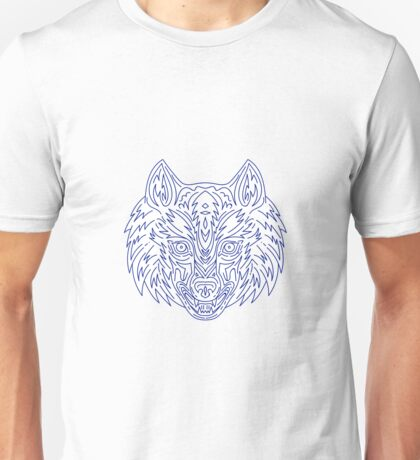 Grey Wolf Head Mono Line Unisex T-Shirt