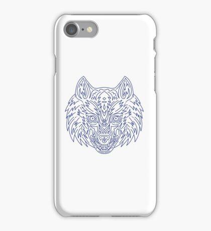 Grey Wolf Head Mono Line iPhone Case/Skin