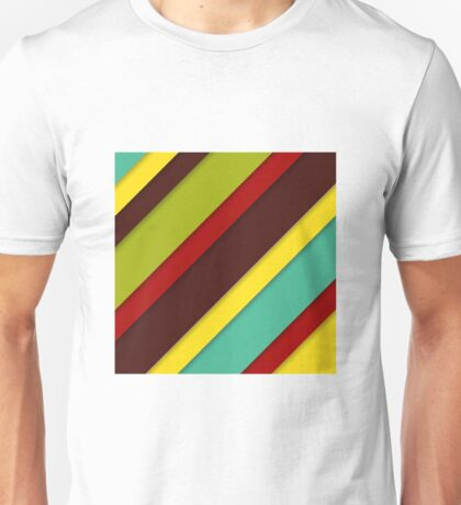 colorful diagonal stripes with shadows Unisex T-Shirt