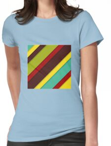 colorful diagonal stripes with shadows Womens Fitted T-Shirt