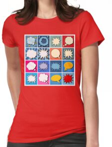 Big Set of Comics Bubbles in Pop Art Style Womens Fitted T-Shirt