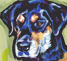 Rottador  Labrador and rottweiler mix Dog Bright colorful pop dog art by bentnotbroken11