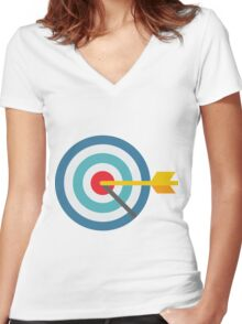 Target ~Green Background Women's Fitted V-Neck T-Shirt