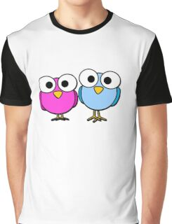 Pink and blue googly eyed birds cartoon Graphic T-Shirt