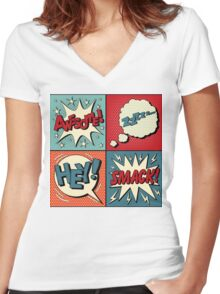 Set of Comics Bubbles in Pop Art Style. Expressions Awesome, Hey, Smack, Zzz Women's Fitted V-Neck T-Shirt