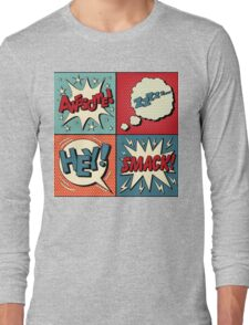 Set of Comics Bubbles in Pop Art Style. Expressions Awesome, Hey, Smack, Zzz Long Sleeve T-Shirt