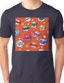 Comics Bubbles Seamless Pattern in Pop Art Style Unisex T-Shirt