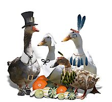 Pilgrims & Indians Thanksgiving Ducs/Geese Photographic Print