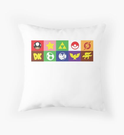 Smash 64 Emblems Throw Pillow