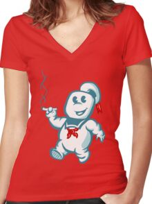 Stay Puft Puff Women's Fitted V-Neck T-Shirt