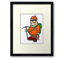Cartoon Mountain Climber Framed Print