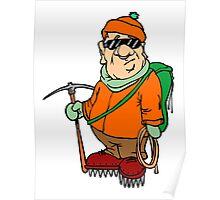 Cartoon Mountain Climber Poster