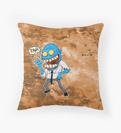 Frisky Blue Zombie Throw Pillow