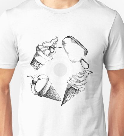 hand drawn pattern with different types of ice cream Unisex T-Shirt
