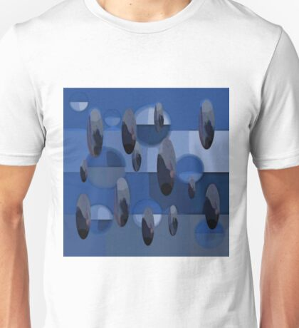 Abstract Orbs and Ovals in Blues and Grays Unisex T-Shirt