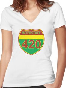 Interstate 420 Rasta Rastafarian Women's Fitted V-Neck T-Shirt