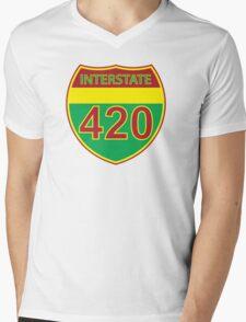Interstate 420 Rasta Rastafarian Mens V-Neck T-Shirt
