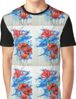 Lovely Little Poppies; Flowers; Vibrant; Red; Nature  Graphic T-Shirt