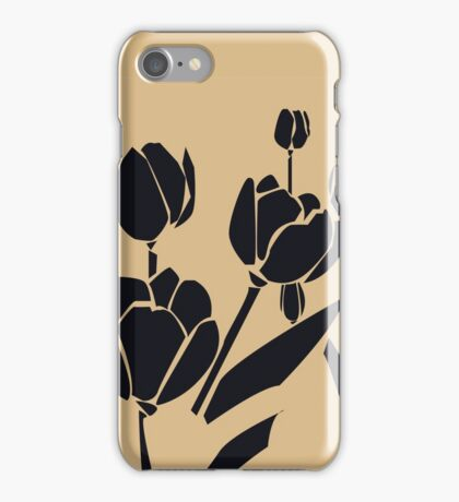 Woodcut tulips iPhone Case/Skin