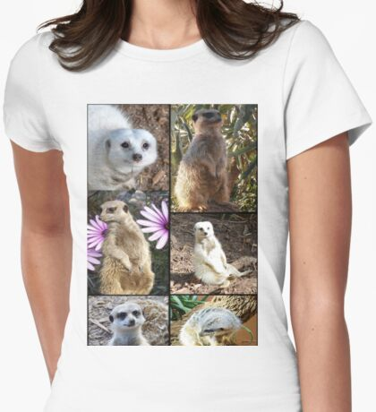Meerkats Of Different Colours In A Photo Collage Womens Fitted T-Shirt