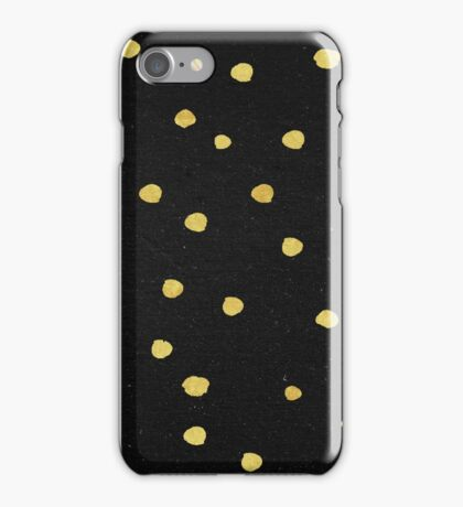 Gold Dots - Modern Yellow Gold Dots on Black Pattern iPhone Case/Skin