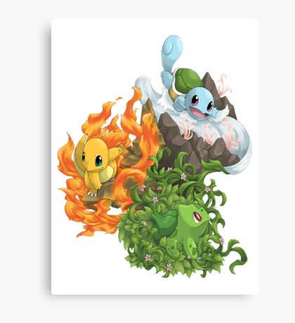 Pokemon bulbizarre_carapuce_salameche Canvas Print