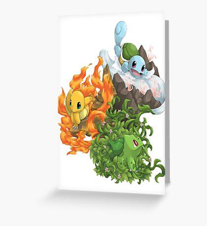 Pokemon bulbizarre_carapuce_salameche Greeting Card