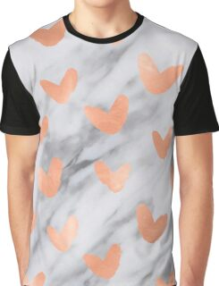 Valentines Day Marble Rose Gold Hearts Shimmery Pink Marble Design Graphic T-Shirt