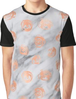 Valentines Day Marble Rose Gold Pink Roses Pattern on Black and White Marble Graphic T-Shirt