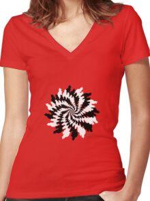 Black & White Cat Fractal  Women's Fitted V-Neck T-Shirt