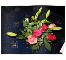 Bouquet of Roses and Lilies Poster
