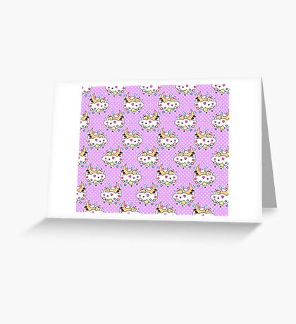 Star Moon and Cloud Polk-a-dot Pattern Greeting Card