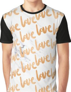 Valentines Day - Copper Gold Bronze Marble Love Word Typography Pattern Graphic T-Shirt