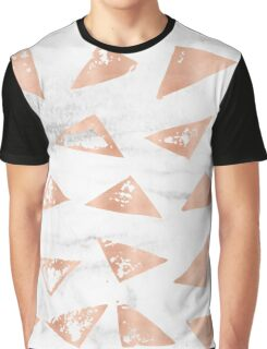 Rose Gold Marble - Triangles on real black and white marble Graphic T-Shirt