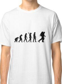 Human evolution of snow treking man Classic T-Shirt