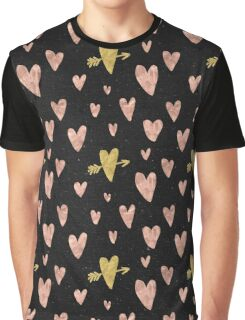 Valentines Day Rose Gold Hearts with Yellow Gold Pattern on Black Graphic T-Shirt