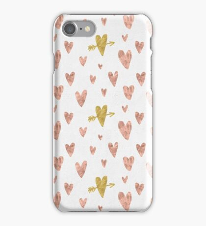 Valentines Day - Rose Gold Hearts with Yellow Gold Hearts Pattern Romantic iPhone Case/Skin