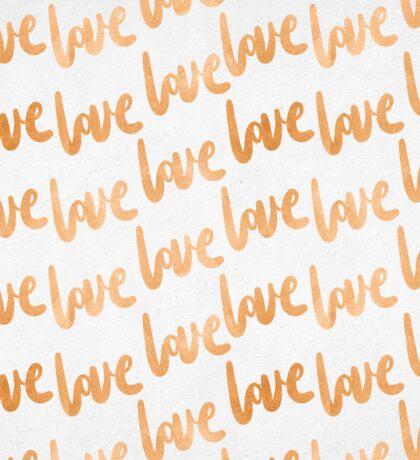 Valentines Day Copper Bronze Gold Love Word Typography Pattern Sticker