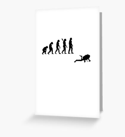 Human evolution of water diver Greeting Card