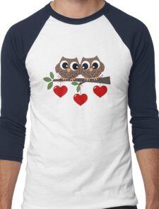 2 Owls My Valentine Day Men's Baseball ¾ T-Shirt